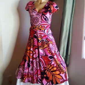 Lizzatti multi color cross over 60's Dress size 8